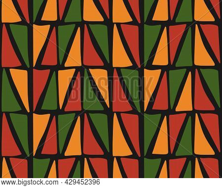 Abstract Kwanzaa, Black History Month, Juneteenth Seamless Pattern With Hand Drawn Triangles In Trad