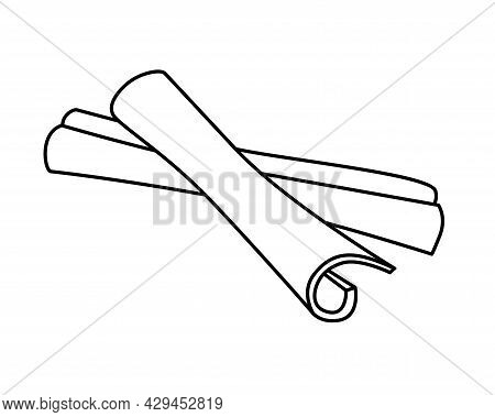 Cinnamon Spices - Vector Linear Illustration For Coloring Pages Or Pictograms. Cinnamon Sticks For C