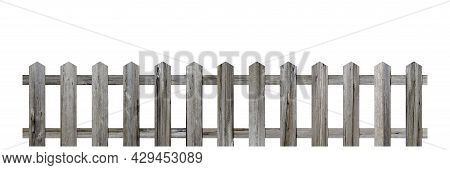 Old Wooden Fence Isolated On A White Background. Rural Building