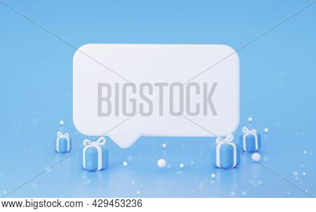 Winter Mockup Speech Bubble With Gifts On Blue Background. 3d Rendering