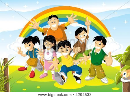 Cheerful Kids On Bright Day