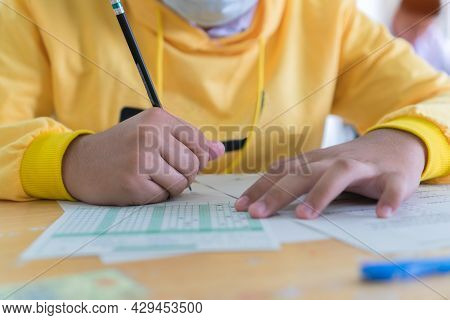 School In Exam, Hands Students Learning Exams In Classroom Pupil  Student's Read Note Taking Admissi