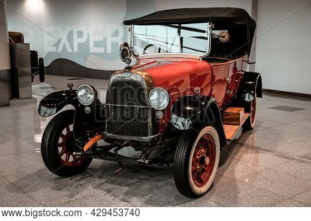 4 June 2019, Moscow, Russia: Side View Of Italian Car Fiat Valencia 1919. Classical Retro Cars Of 19