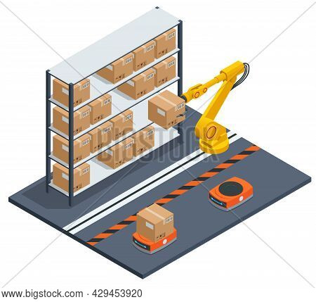 Isometric Yellow Robotic Arm Carry Cardboard Box In Warehouse. Automated Warehouse. Autonomous Robot