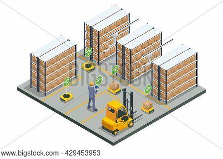 Isometric Automated Warehouse Robots. Modern Logistics Center. Automated Warehouse. Autonomous Robot