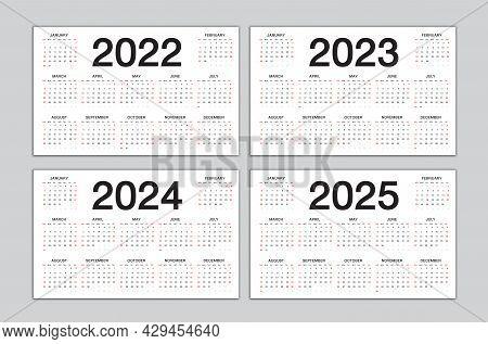 Calendar 2022, 2023, 2024, 2025 Year Template, Simple, Desk Calendar Design, Planner, Wall Calendar,