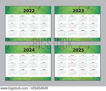 Calendar 2022, 2023, 2024, 2025 Year Template, Simple, Desk Calendar Design, Wall Calendar, Week Sta