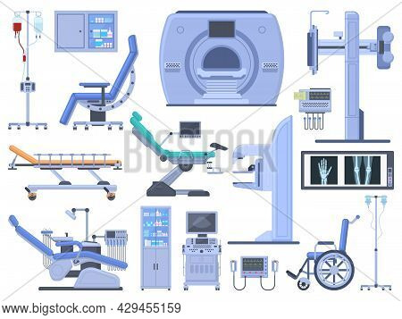 Hospital Medical Diagnostic Healthcare Equipment Tools. Dentist Chair, Wheelchair, Blood Transfusion