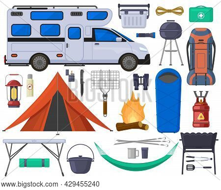 Camping Hiking Touristic Tent, Van, Campfire Elements. Hiking Outdoor Adventure Equipment Vector Ill