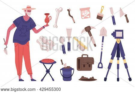 Archaeology Explorer Character With Archaeology Dig Equipment And Artefacts. Male Archaeologist At W