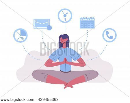 Meditation Lotus Position Woman Work And Rest Balance. Meditation Practice For Successful Time Manag