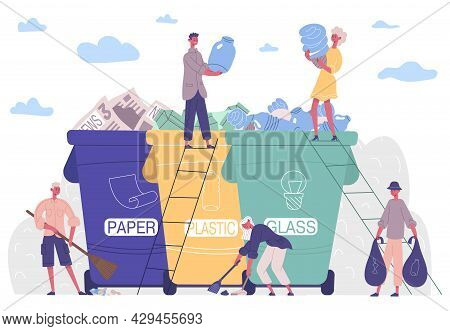 People Sorting Garbage, Protecting Environment From Plastic Solution. Collecting, Sorting, Recycling