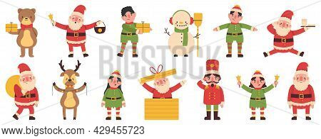 Christmas Elves, Snowman And Reindeer Santa Claus Helpers Mascots. Winter Holiday Funny Team Vector