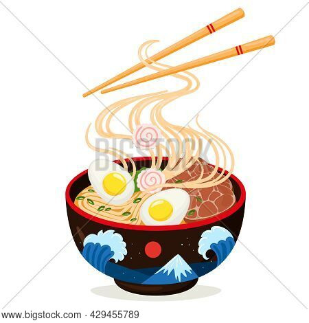 Cartoon Asian Cuisine Delicious Ramen Noodles Bowl. Traditional Japanese Dish, Delicious Soup With F