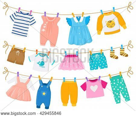 Cartoon Childrens Clean Clothes Dry Hanging Ropes. Kids Cute Garments Shorts, Dresses, Shirts Hangin