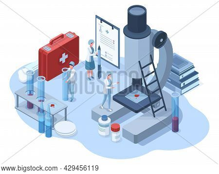 Isometric Medical Pharmaceutical Research 3d Laboratory. Science Chemical Laboratory Scientists Char