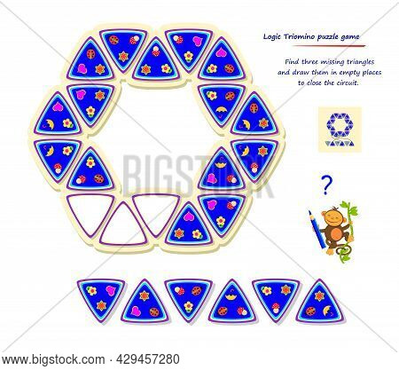 Logic Triomino Puzzle Game. Find Three Missing Triangles And Draw Them In Empty Places To Close The