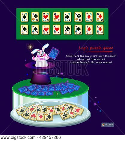 Logic Puzzle Game For Children And Adults. Which Card The Bunny Took From Deck? Which Is Not Reflect