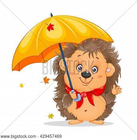 Cute Cartoon Hedgehog. Funny Cartoon Character Hedgehog With Umbrella. Stock Vector Illustration On