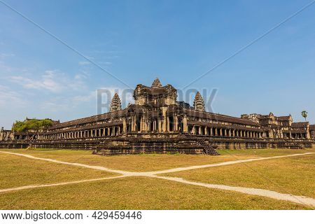 Angkor Wat, Siem Reap, Cambodia - June 12, 2020:  Temple Complex In The Rainforest Of The Angkoe Dis