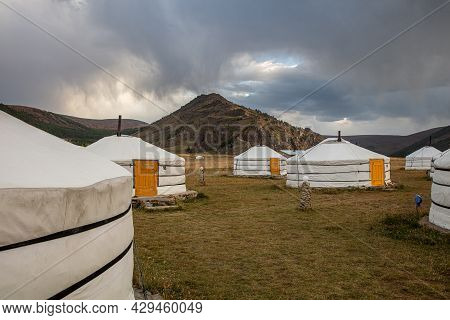Yurt Or Tent Camp In Steppe Landscape Of Mongolia. Central Mongolia Near Karakorum The Old Capital C