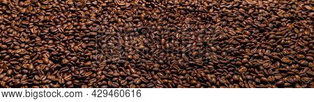 Super Large High Resolution Panorama Macro Photography Of A Huge Heap Of Coffee Beans. Close Up To T