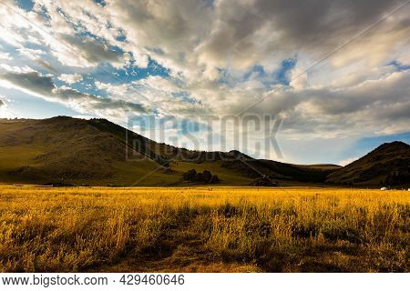 The Sun Goes Down At Mongolia , Sunset Landscape Photography In The Mongolian Steppe At Arhangai-aim