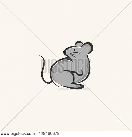 Simple Cartoon Mouse Logo. Modern Geometric Mouse Outline, Vector Illustration.eps 10