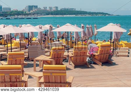 Krasnodar, Russia - June 15 2021: Cafe On The Beach In Gelendzhik City, Russia. Summer Vacation And
