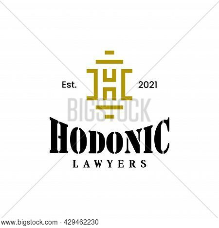 Bold And Unique Logo About The Letter H And Attorney At Law. Eps 10, Vector.