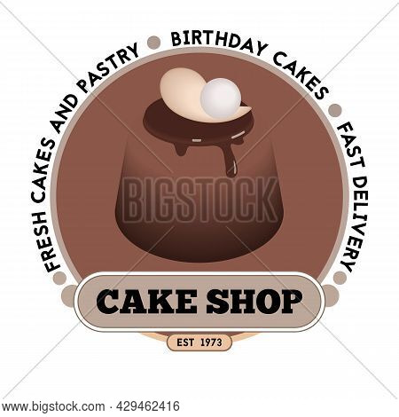 Cake Shop Logo Design Template. Emblem, Label, Sticker Elements For Cafe And Bakery Shop. Vector Ill