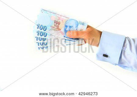 Business Man Holding Turkish Lira
