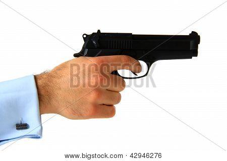Business Man Holding Pistol