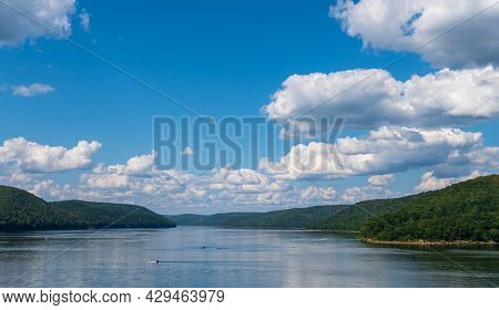 Mead Township, Pennsylvania, Usa August 3, 2021 Two Boats On The Allegheny Reservoir In The Alleghen