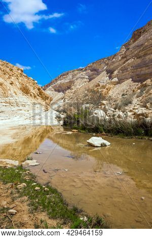 The ravine Ein Avdat is formed by the Qing River. The canyon  is the most beautiful in the Negev desert. The sky is reflected in the water. The walls of the gorge are corroded by caves.