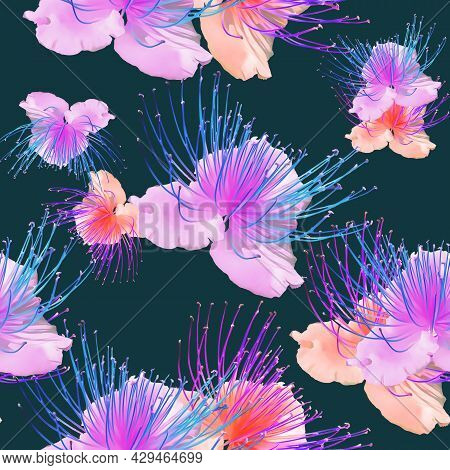 Capers. Illustration, Texture Of Flowers. Seamless Pattern For Continuous Replication. Floral Backgr