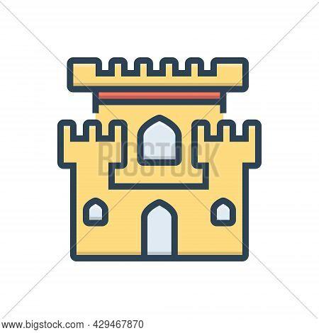 Color Illustration Icon For Castle Chateau Mansion Stronghold Citadel Flanker Castle