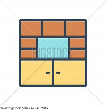 Color Illustration Icon For Furniture Cupboard Cabinet Closet  Shelf Wardrobe