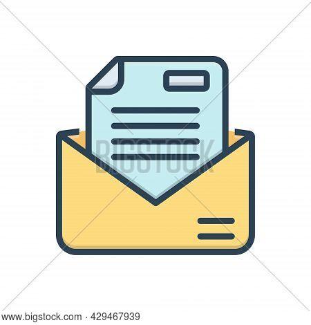 Color Illustration Icon For Letter Messages Tidings  Text Scenarios  Email Script Document Manuscrip