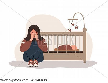 Postpartum Depression. Arab Tired Woman Sitting On The Floor, Crying And Hugging Her Knees. Young Mo