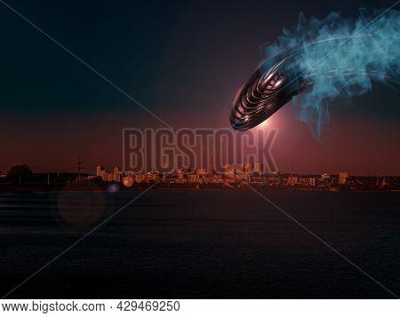 Alien Spaceship Flies Over The Night City.