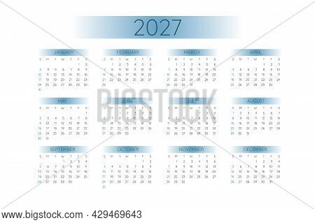 2027 Pocket Calendar Template In Strict Minimalistic Style With Blue Gradient Elements, Horizontal F