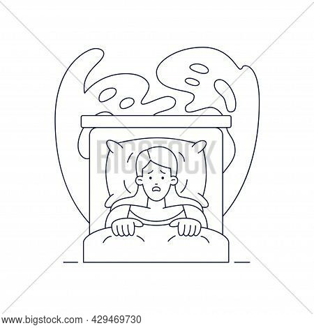 Nightmare Disorder Vector Illustration. Scared Woman Is Waking Up From A Nightmare, Lying In Bed And