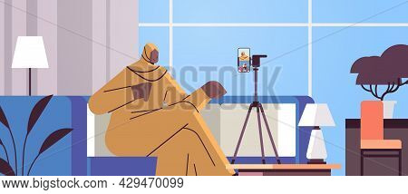 Arab Woman Podcaster Blogger Recording Video Blog Podcasting Broadcasting Live Streaming Blogging Co