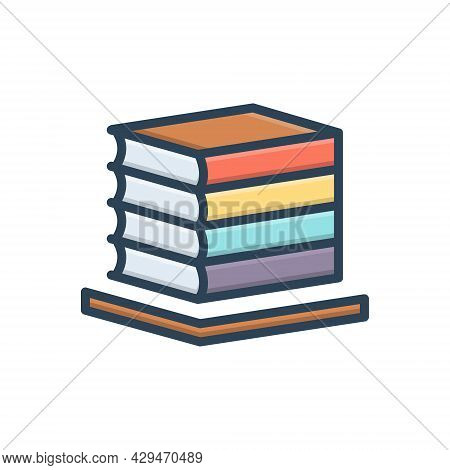 Color Illustration Icon For Books Bibliography Books Collection Bookcase Bookshelf Education Knowled
