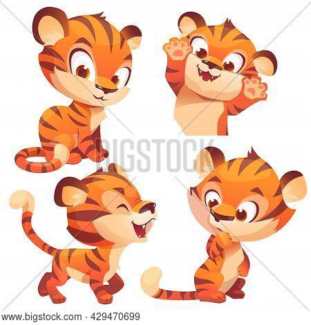 Cute Baby Tiger, Cartoon Animal Cub Character, Kawaii Mascot Roar, Think, Playing, Smile And Waving