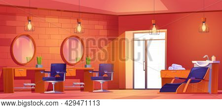 Hair Salon Or Barbershop Interior With Hairdressing Chairs, Mirrors, Sink And Towels. Vector Cartoon