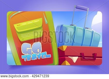 Go Travel Cartoon Landing Page With Baggage, Suitcase And Luggage Bags On Blue Cloudy Sky Background