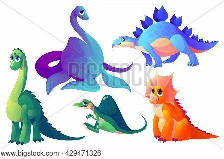 Cute Dinosaurs Isolated On White Background. Triceratops, Spinosaurus, Plesiosaurus, Brachiosaurus A