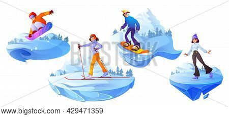 People Engage Winter Sport. Cartoon Characters Riding Snowboard, Walk By Skis And Skating Activity.
